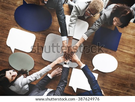 Business People Joining Speech Bubbles Teamwork Concept - stock photo