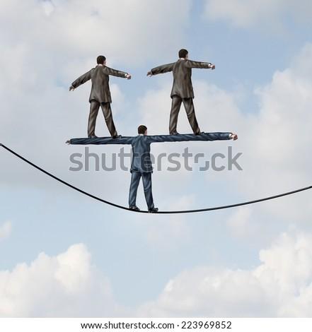 Business people manager concept as a businessman walking on a tight rope with two other businesspeople standing on the shoulders of the leader as a symbol of work support and career guidance. - stock photo