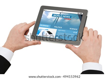 business, people, mass media and technology concept - close up of man hands holding tablet pc computer with internet news on screen