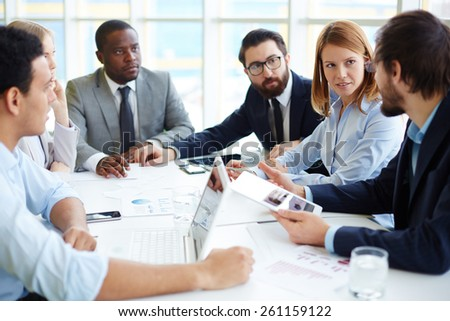 Business people meeting for briefing - stock photo