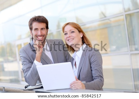 Business people meeting outside the office - stock photo