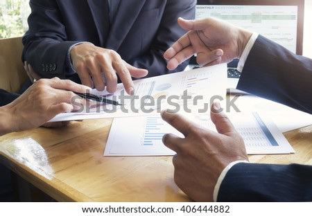 Business people meeting to discuss the situation on the marketing. - stock photo