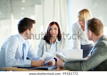 Business people meeting to share the ideas and exchange experience - stock photo