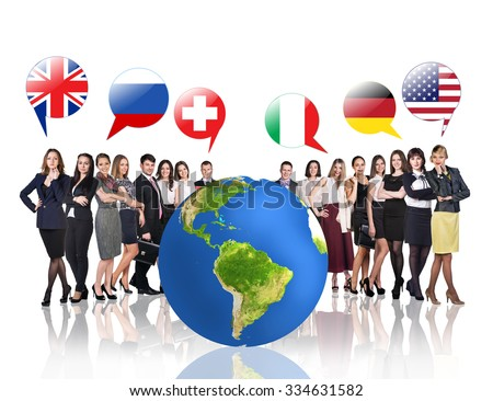 Business people near big earth and flag bubbles.Elements of this image furnished by NASA - stock photo
