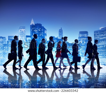Business People New York Commuting Concept - stock photo