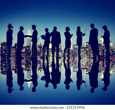 Business People New York Night Silhouette Concept - stock photo