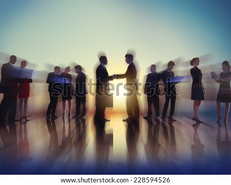 Business People New York Outdoor Meeting Concept - stock photo