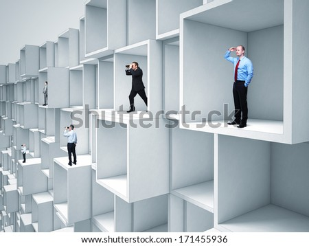 business people on abstract modern architecture - stock photo