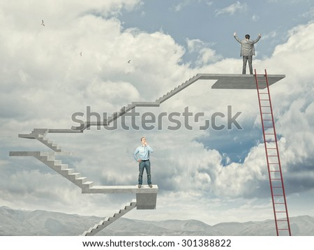 business people on abstract stair