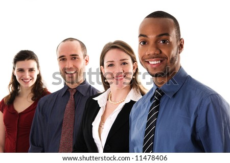 business people on an isolated white background