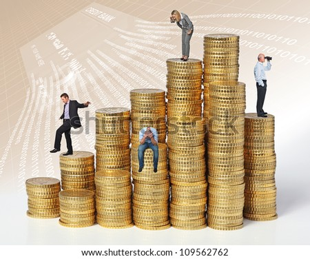 business people on coin piles