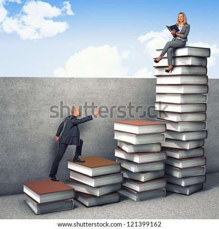 business people on 3d books piles - stock photo