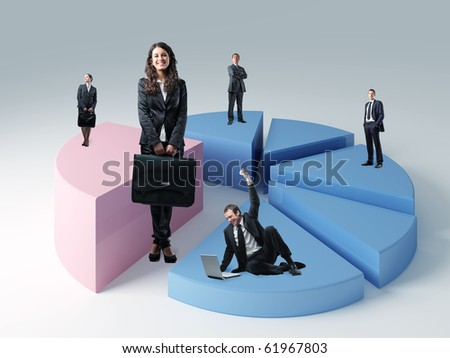 business people on 3d  pie chart - stock photo
