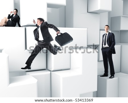 business people on 3d virtual white puzzle game - stock photo