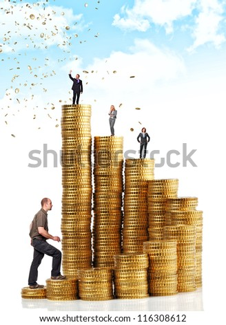 business people on money coin stair - stock photo