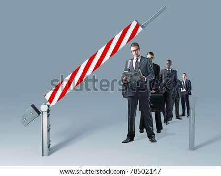 business people on queue waitng to enter - stock photo