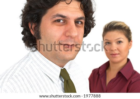 business people on white, shallow dof - stock photo