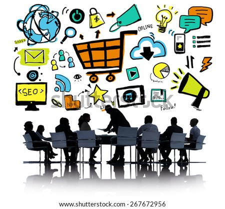 Business People Online Marketing Meeting Discussion Concept - stock photo