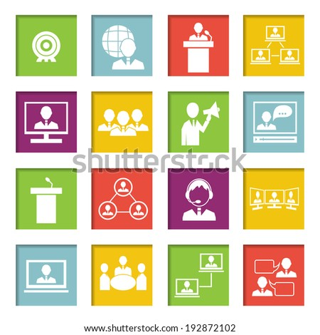 Business people online meeting strategic concepts icons set of virtual presentation conference and speech isolated  illustration - stock photo