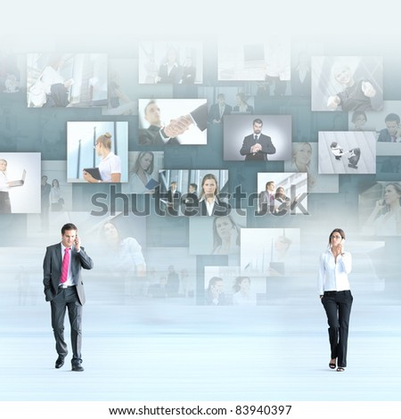 Business people over abstract background - stock photo