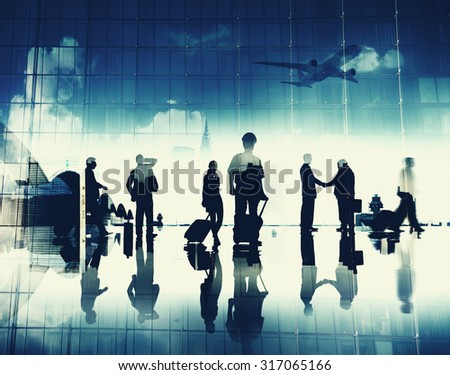 Business People Pilot Corporate Airport Travel Flight Concept - stock photo