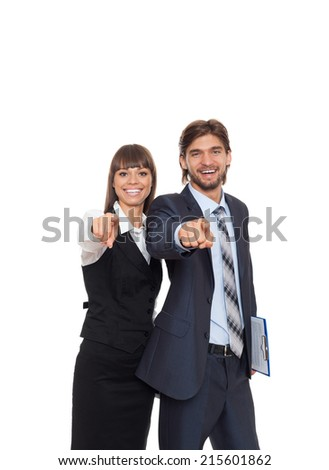 Business people point finger at camera you, businessman and businesswoman happy smile, businesspeople isolated over white background