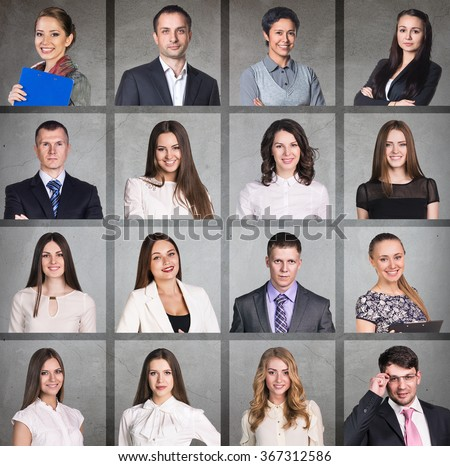 Business people portrait collage - stock photo