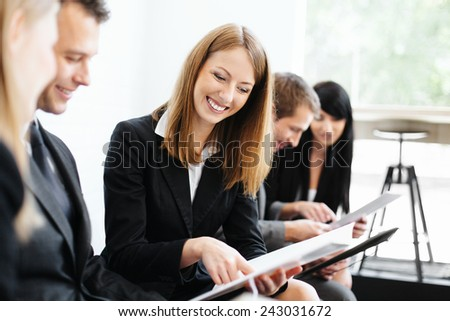 Business people preparing for exam