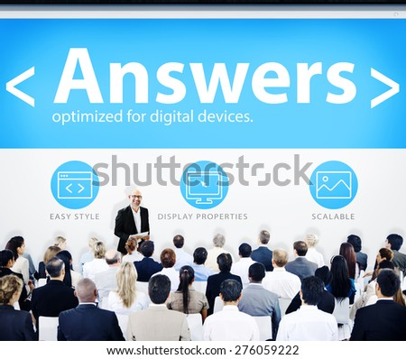 Business People Presentation Seminar Answers Concept - stock photo