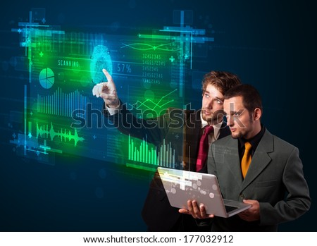 Business people pressing modern technology panel with finger print reader  - stock photo