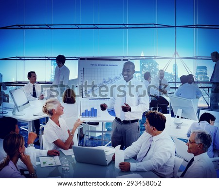 Business People Progress Growth Meeting Leader Discussion Concept - stock photo