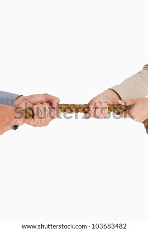 Business people pulling the rope against white background