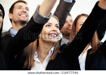 Business people reaching target - stock photo