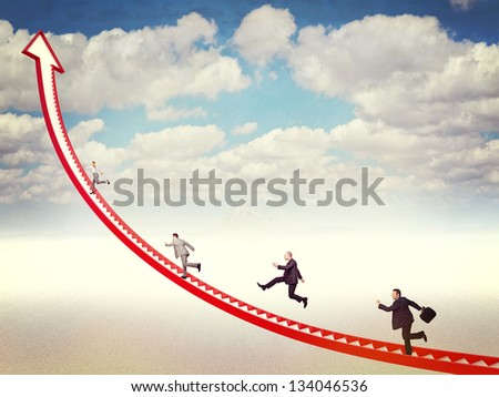 business people run on 3d arrow stair - stock photo