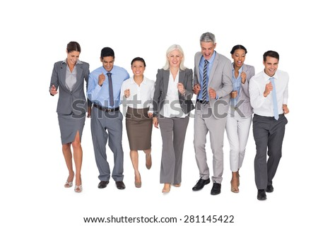 Business people running together on white background