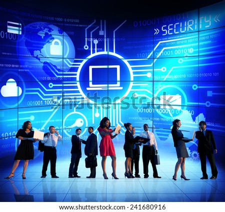 Business People Security Technology Communication Corporate Concept - stock photo