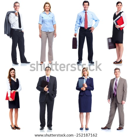 Business people set isolated over white background - stock photo