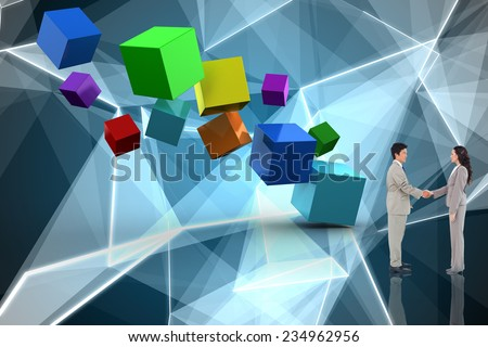 Business people shaking hands against abstract glowing black background - stock photo