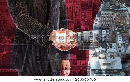 Business people shaking hands against new york - stock photo