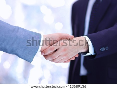 Close Businessman Hands Making Handshake Panoramic Stock ...