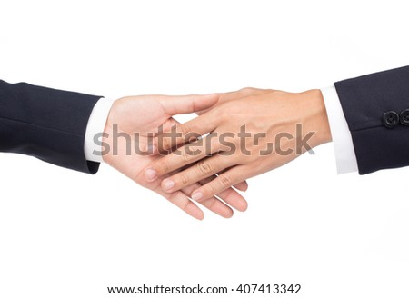 Business people shaking hands isolated on white background Conceptual photo of teamwork