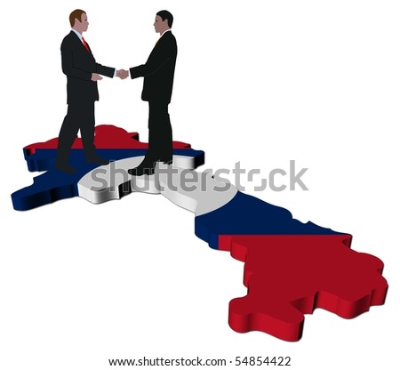 Business people shaking hands on Laos map flag illustration