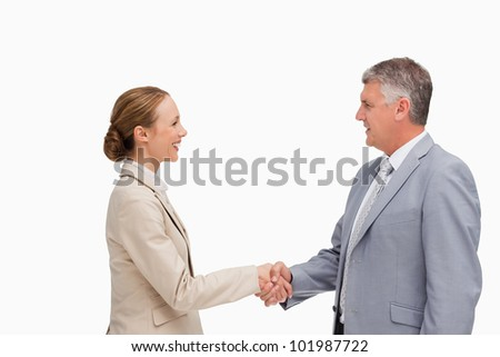 Business people shaking their hands against white background - stock photo