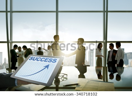 Business People Silhouette Conference Hand Shake Success Teamwork - stock photo