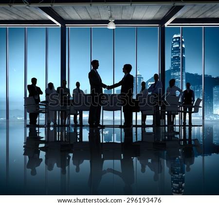 Business People Silhouette Working Agreement Teamwork Hand Shake - stock photo