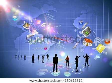 Business people silhouettes against blue media background with icons