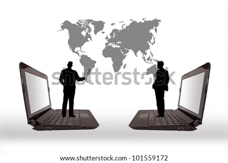 Business people silhouettes and the computer. - stock photo