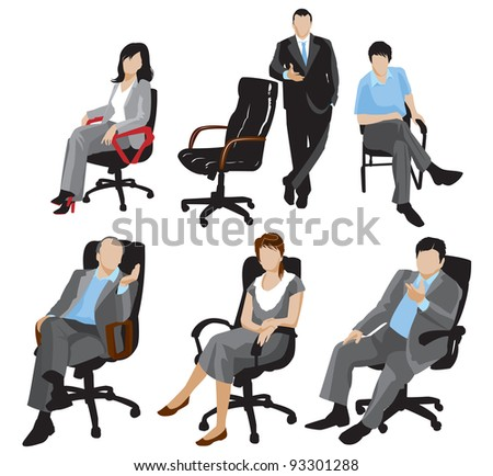 business people silhouettes. Raster version. - stock photo