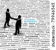 Business people stand on a  text page to shake hands in agreement on global economic issues - stock photo