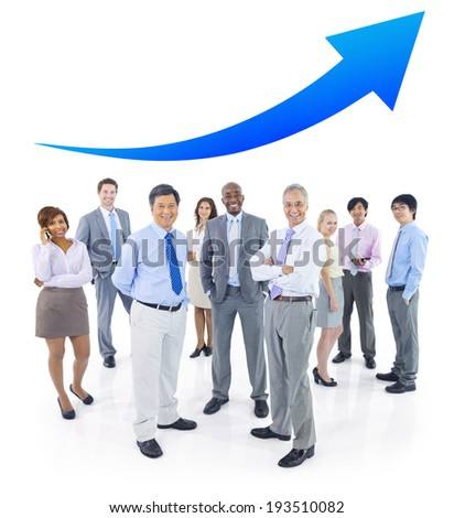 Business People Standing and Arrow Above - stock photo